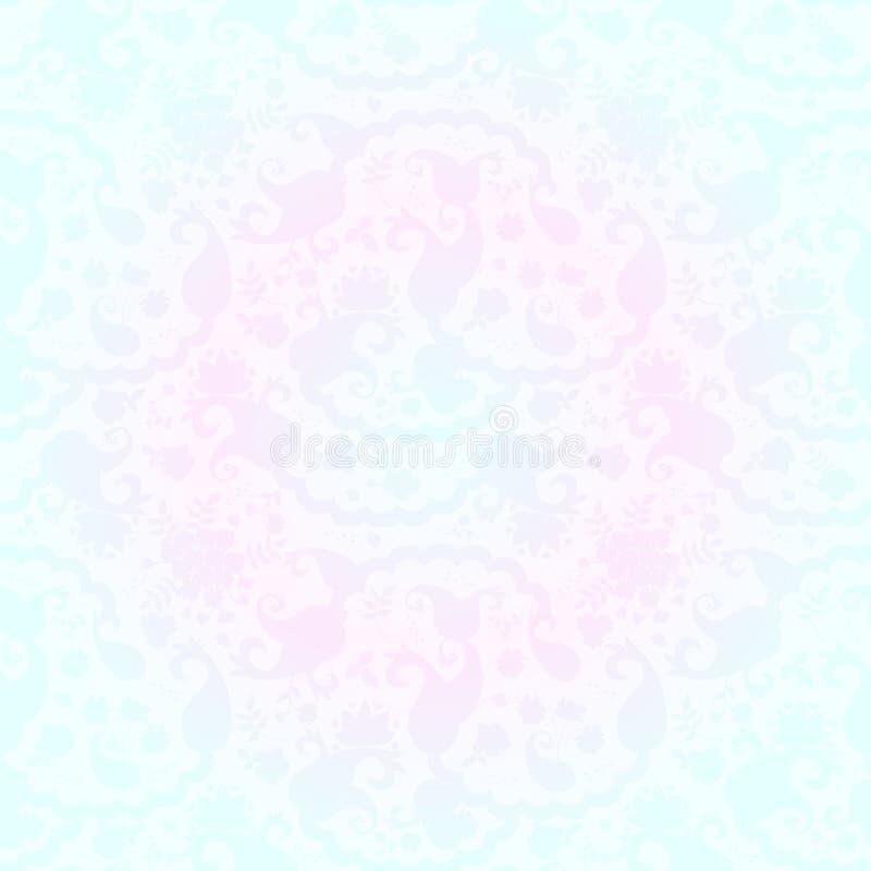 Eleganci Paisley bezszwowy kwiecisty wzór w adamaszka stylu ilustracja wektor