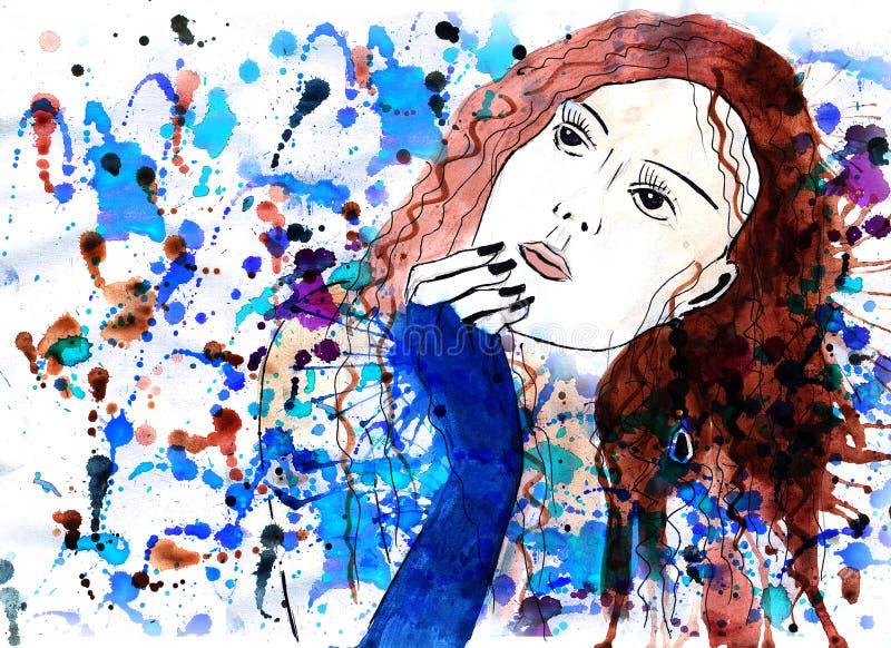 eleganci piękna rysunkowa dziewczyna royalty ilustracja