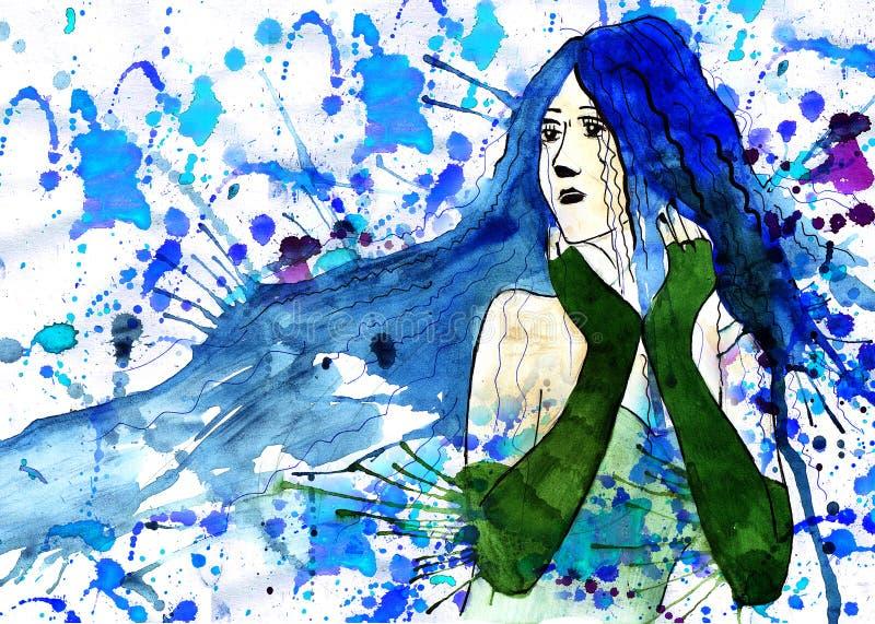 eleganci piękna rysunkowa dziewczyna ilustracja wektor