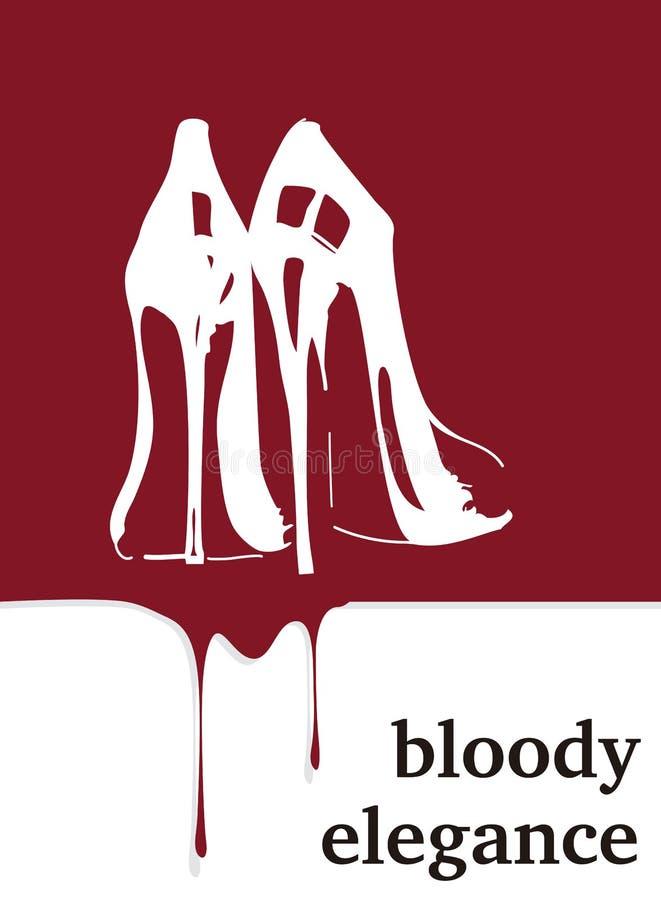 Elegancia sangrienta Tacones altos con sangre Cartel del crimen stock de ilustración