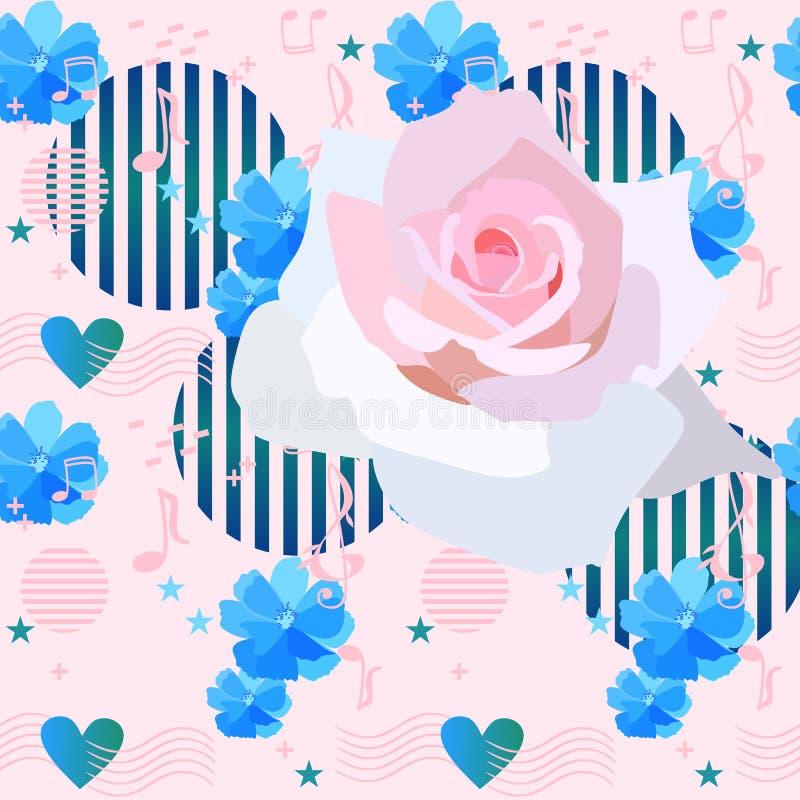 Elegancja kwiecisty wzór z luksusową biel różą, muzyk notatki, znaki i grafika elementy w Memphis stylu na świetle, - menchia ilustracja wektor