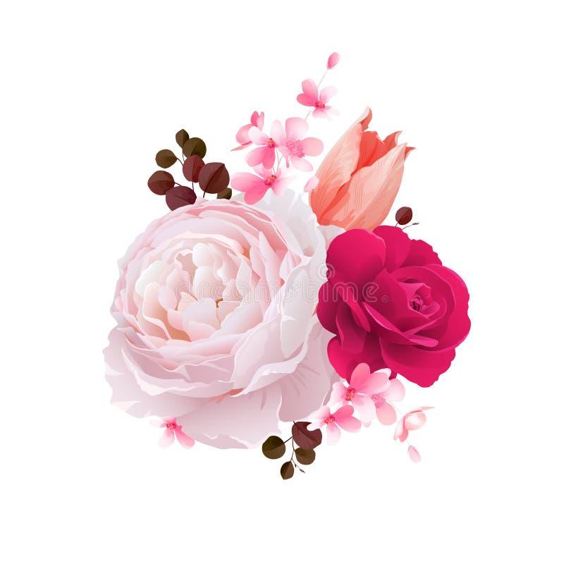 Elegancja kwitnie bukiet koloru tulipan i róże Skład z okwitnięcie kwiatami również zwrócić corel ilustracji wektora ilustracji