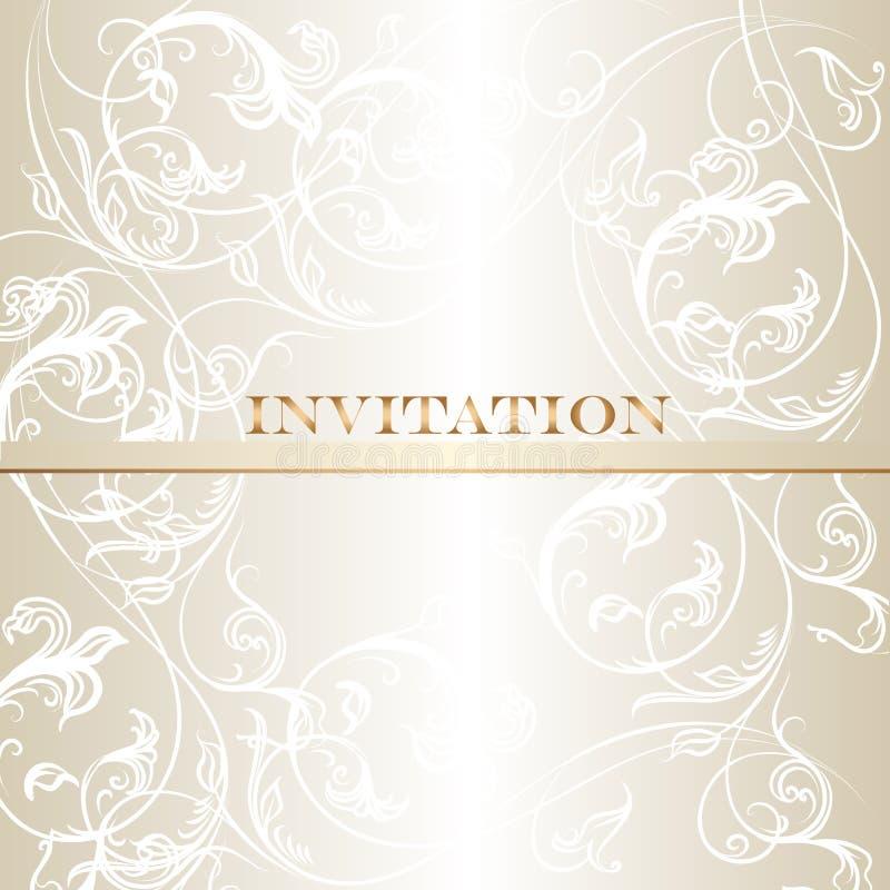 Elegancka ślubna zaproszenie karta w pastelowych białych brzmieniach ilustracja wektor