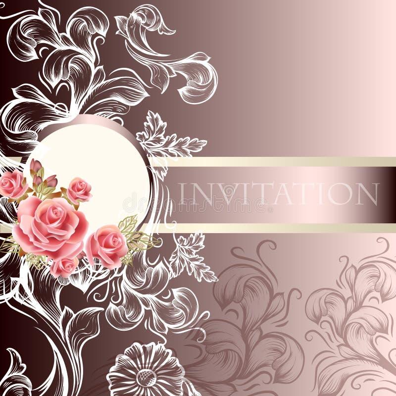 Elegancka ślubna zaproszenie karta w pastelowych brzmieniach royalty ilustracja