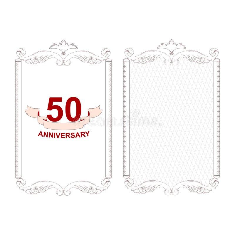 Elegancka antykwarska biel rama w dwa wersjach dla zaproszenia 50th rocznica ornament wykonuje w Wiktoria ilustracji
