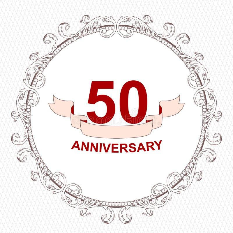 Elegancka antykwarska round biel rama dla zaproszenia 50th rocznica ornament wykonuje w Wiktoriańskim stylu Fo ilustracja wektor