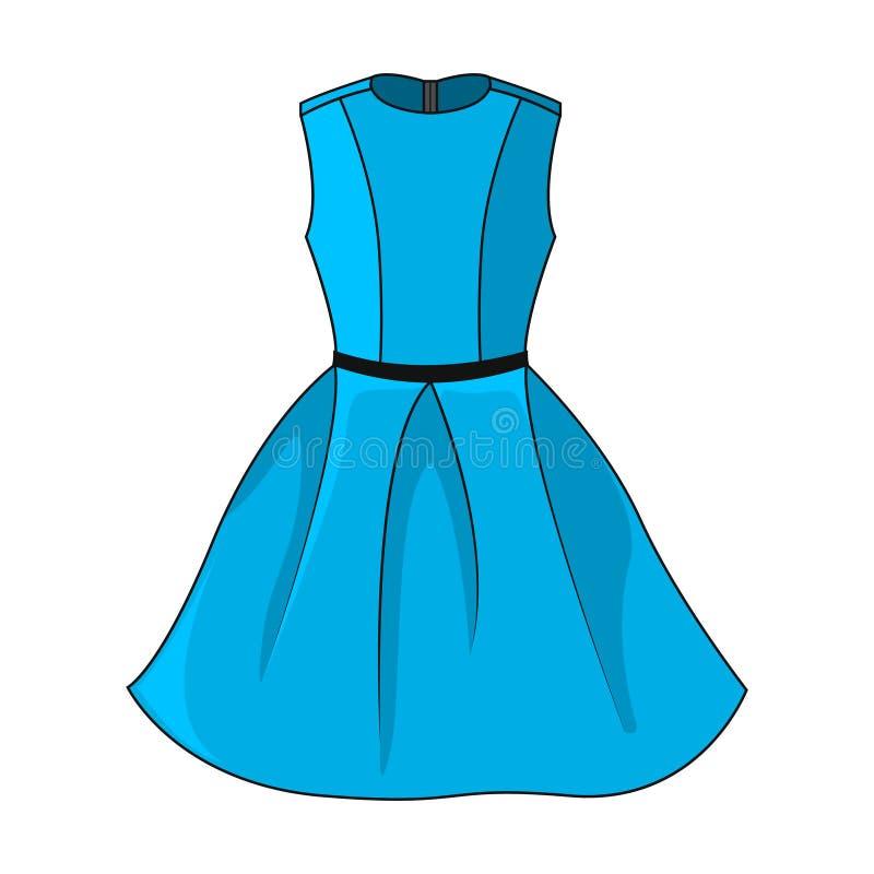 Elegancka błękit sukni ikona odizolowywająca na białym tle ilustracji