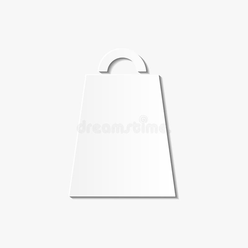 Elegancka biała wektoru papieru sztuki torby na zakupy ikona odizolowywająca na whi royalty ilustracja