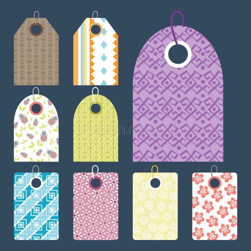 Elegancka cen ubrań etykietka z deseniowego sprzedaży karty majcherów kolekci papieru odznaki pustym biznesowym promocyjnym wekto ilustracja wektor
