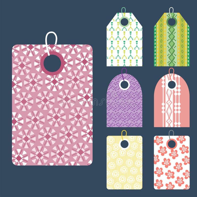 Elegancka cen ubrań etykietka z deseniowego sprzedaży karty majcherów kolekci papieru odznaki pustym biznesowym promocyjnym wekto ilustracji