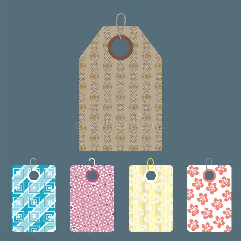 Elegancka cen ubrań etykietka z deseniowego sprzedaży karty majcherów kolekci papieru odznaki pustym biznesowym promocyjnym wekto royalty ilustracja