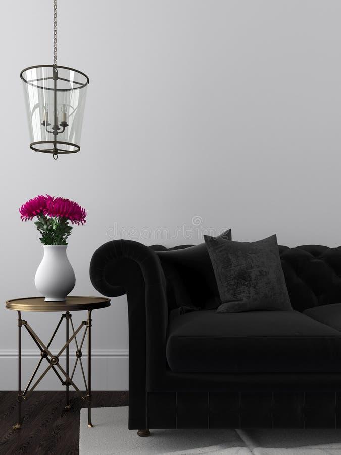 Elegancka czarna kanapa i pozłacający stół obraz royalty free