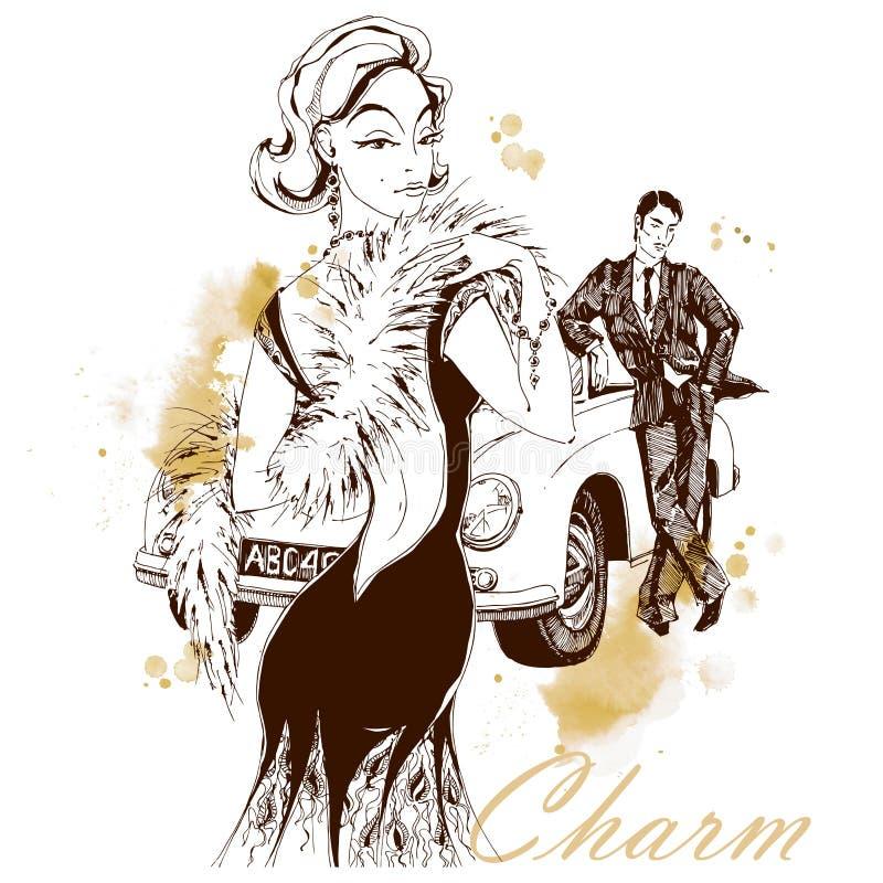 Elegancka dama i d?entelmen w retro stylu samoch?d Grafika i akwarela punkty wektor ilustracji