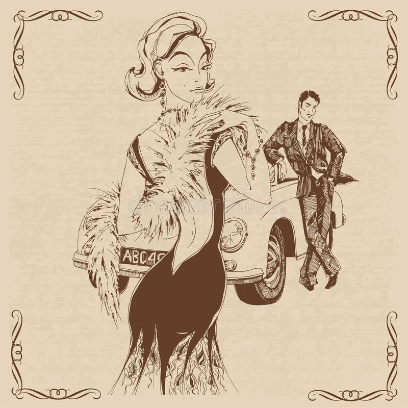 Elegancka dama i d?entelmen w retro stylu samoch?d grafit wektor ilustracji
