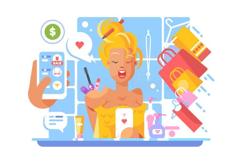 Elegancka dziewczyna robi zakupy online ilustracja wektor