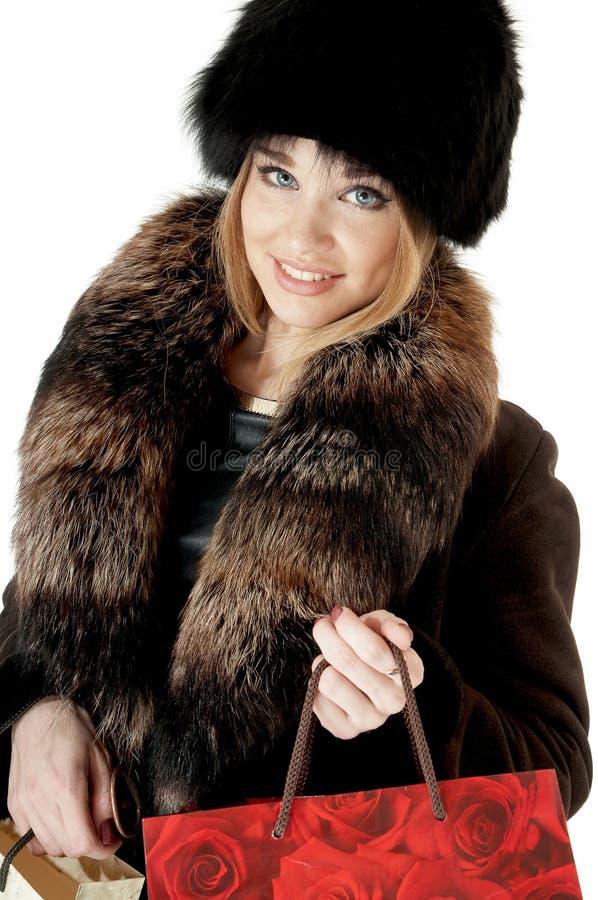 Elegancka elegancka kobieta w futerku obrazy stock