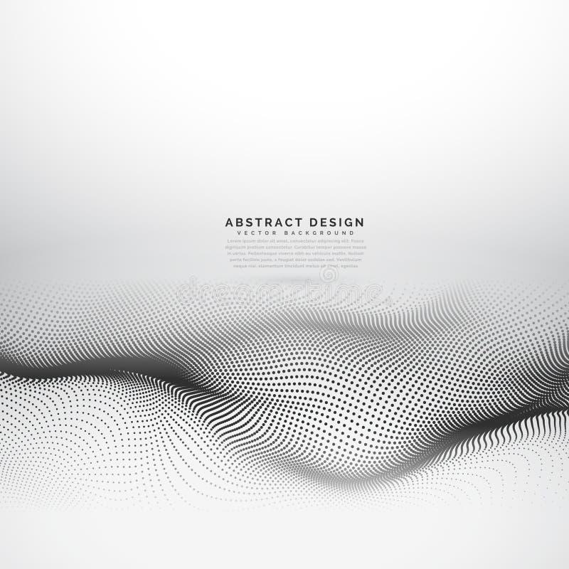 Elegancka falowa siatka robić z czernią kropkuje cząsteczki ilustracji