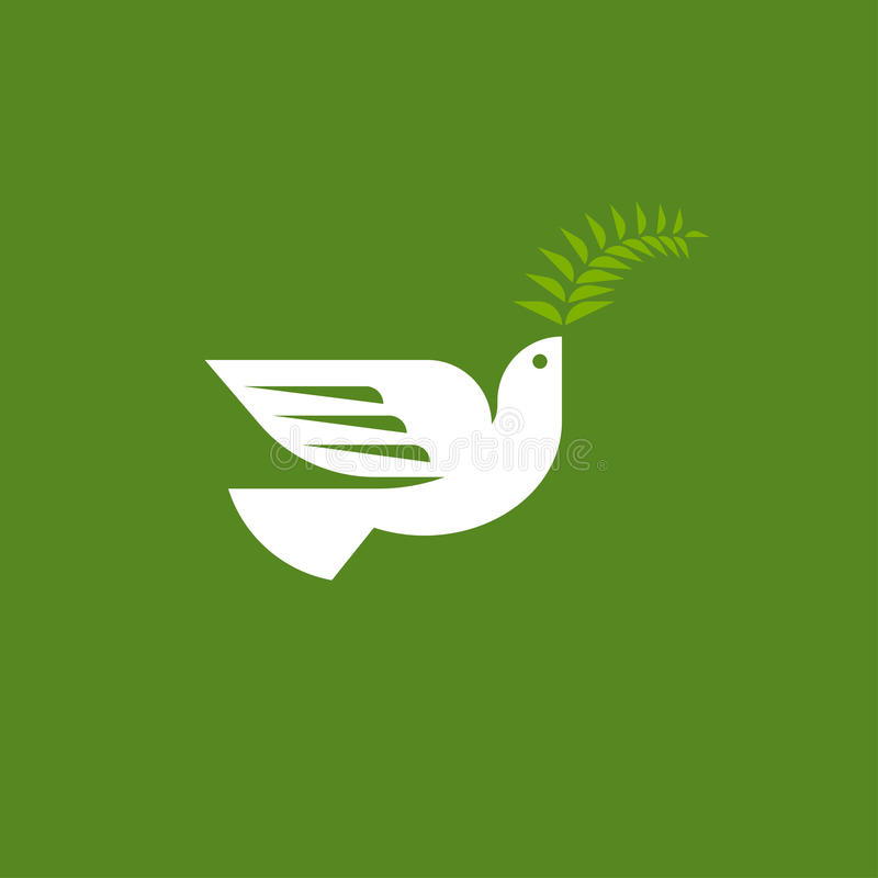Elegancka gołąbka Mieszkanie loga stylowy wektorowy szablon biały gołąb ilustracji