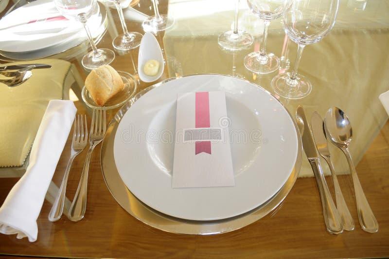 Elegancka i Romantyczna dekoracja, stołu Pojedynczy miejsce zdjęcie royalty free
