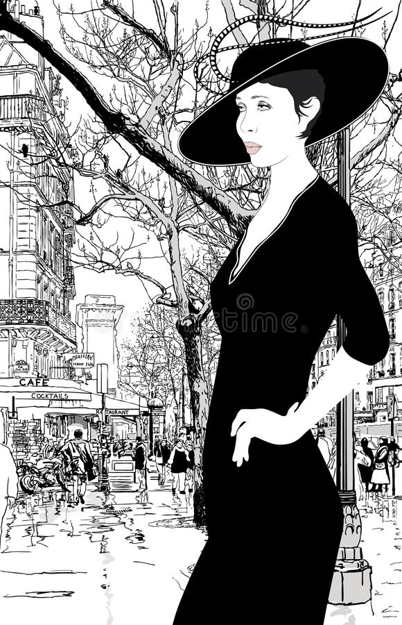elegancka ilustracyjna dama Paris ilustracja wektor