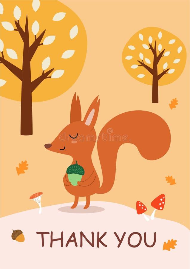 Elegancka jesieni karta, sztandar z śliczną wiewiórką lub Śmieszna wektorowa ilustracja z tekstem royalty ilustracja