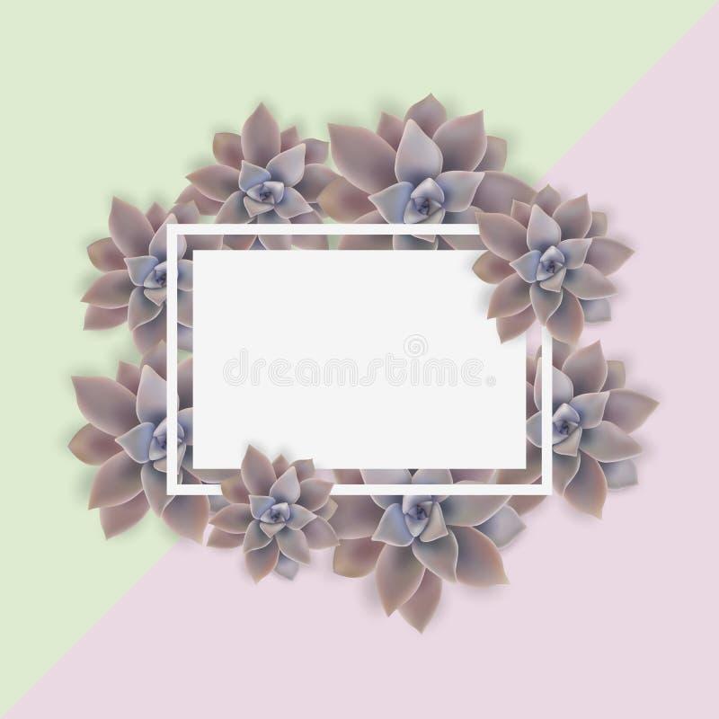 Elegancka karta, pocztówka dekoruję kwiatów poślubiać zaprasza Kwadratowa rama r?wnie? zwr?ci? corel ilustracji wektora ilustracji