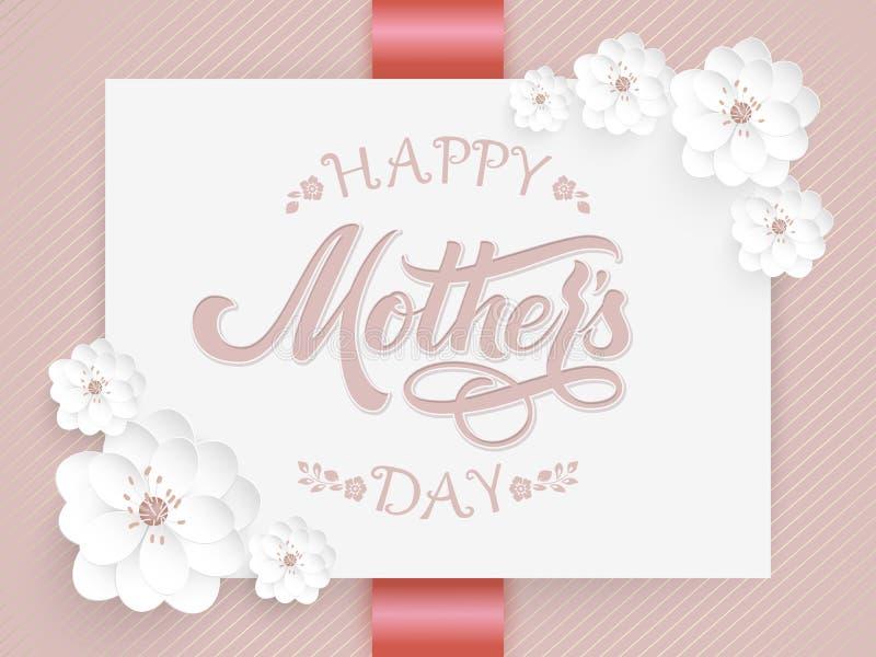Elegancka karta z Szczęśliwym matka dnia literowaniem i kwiecistymi elementami Elegancka nowożytna ręcznie pisany kaligrafia Z kw ilustracji