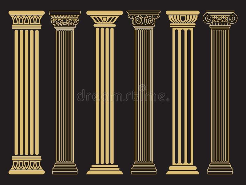 Elegancka klasyczna rzymskiej, greckiej architektury linia, i sylwetek kolumny royalty ilustracja