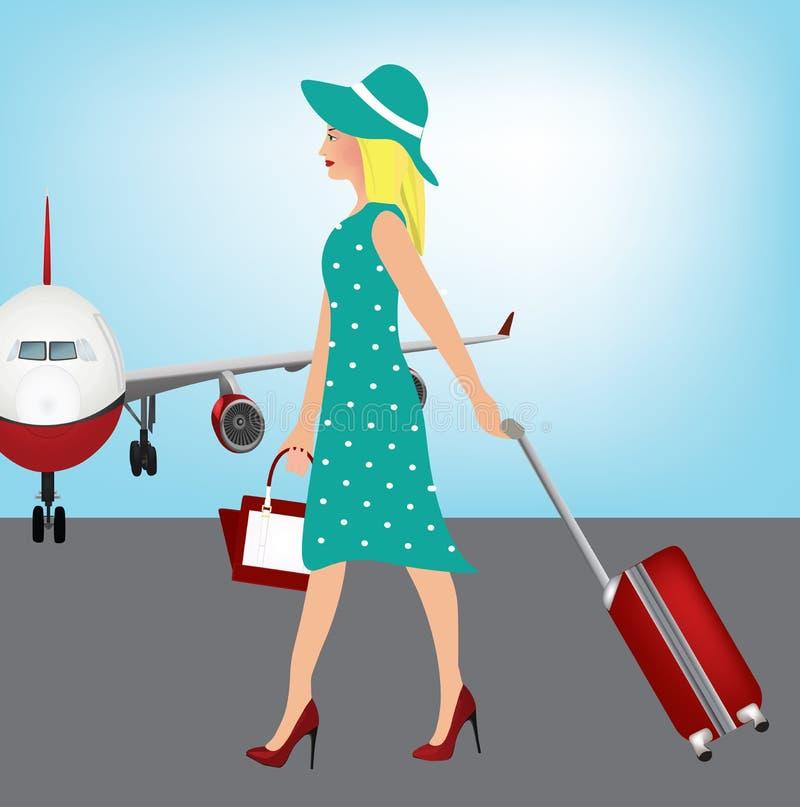 Elegancka kobieta niesie walizkę ilustracja wektor