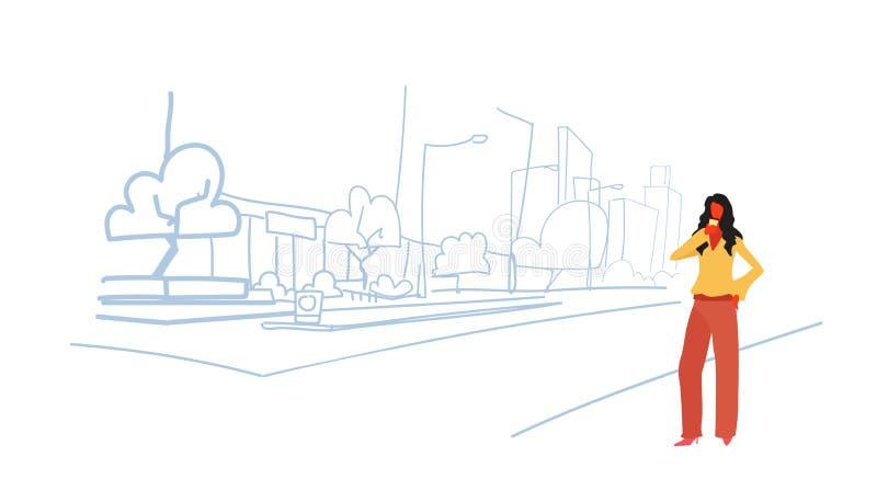 Elegancka kobieta pije kawowego bizneswomanu stoi plenerowego nowożytnego miasta drapacz chmur ulicznych budynki przegląda pejzaż ilustracji