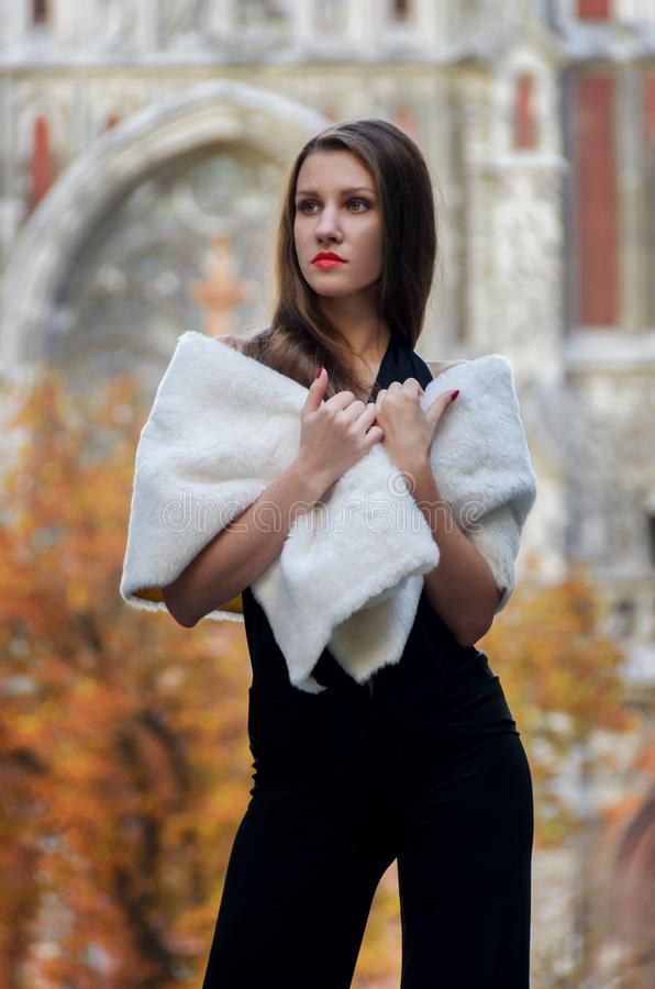 Elegancka elegancka kobieta w czarnym stroju i białej futerkowej przylądek adze fotografia royalty free