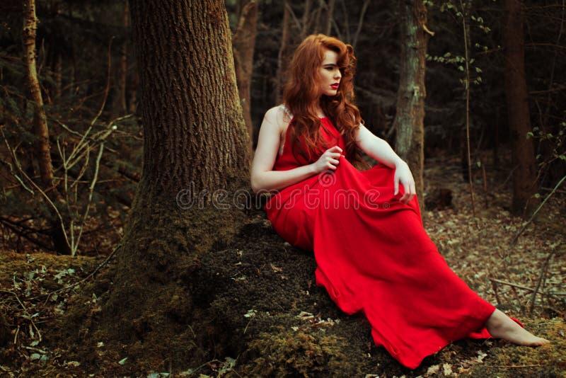 Elegancka kobieta w czerwieni sukni obrazy royalty free