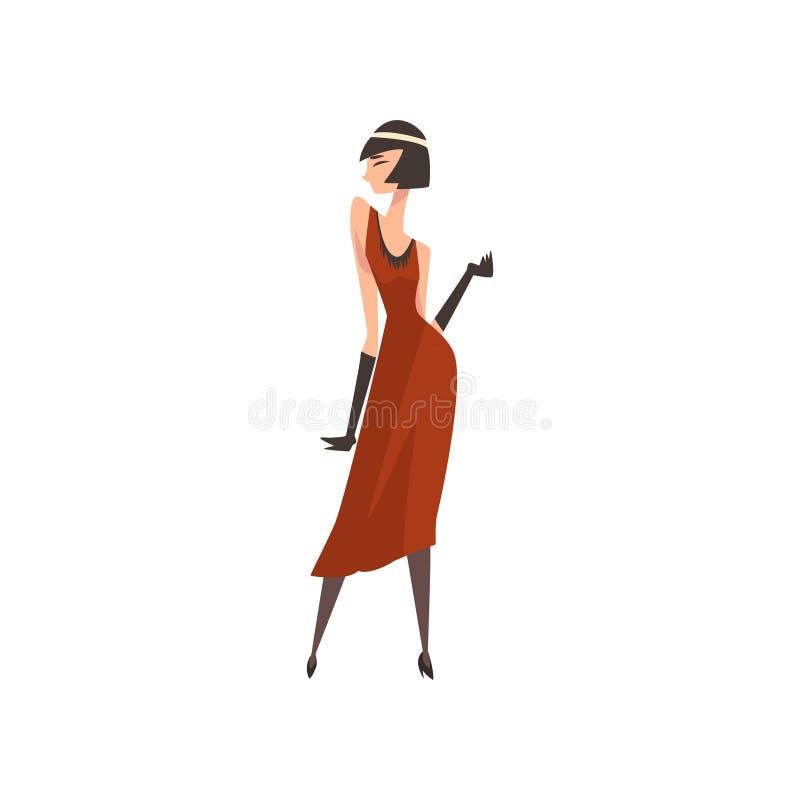Elegancka kobieta w Czerwonej Retro sukni, Piękna podlotek dziewczyna 1920s, art deco Projektuje Wektorową ilustrację ilustracji