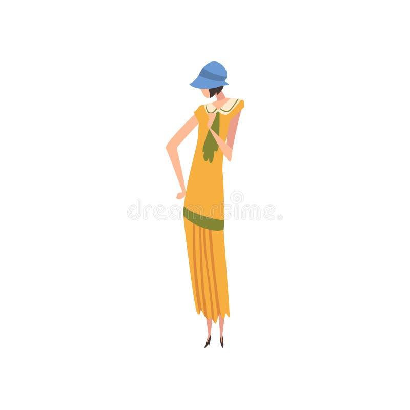 Elegancka kobieta w Retro sukni i kapeluszu, Piękna dziewczyna 1920s, art deco Projektuje Wektorową ilustrację ilustracji