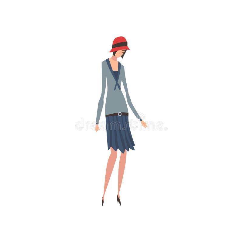 Elegancka kobieta w Retro sukni i kapeluszu, Pi?kna dziewczyna 1920s, art deco Projektuje Wektorow? ilustracj? ilustracja wektor