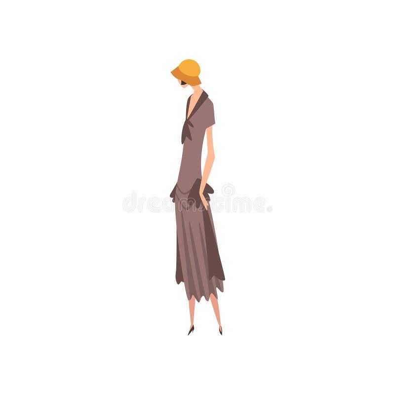 Elegancka kobieta w Szarej Retro sukni i kapeluszu, Piękna dziewczyna 1920s, art deco Projektuje Wektorową ilustrację royalty ilustracja