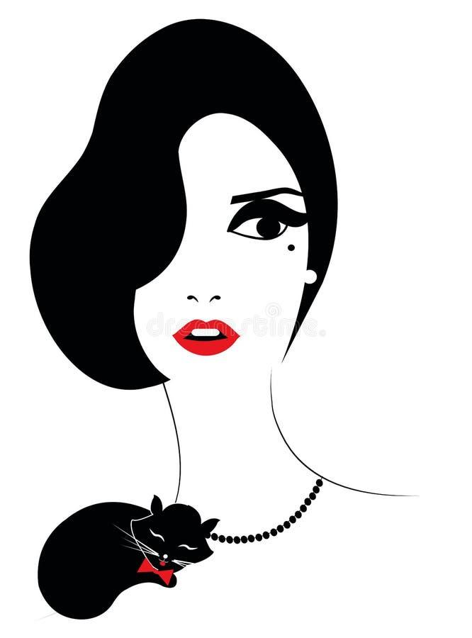 Elegancka kobieta z czarnym kotem royalty ilustracja