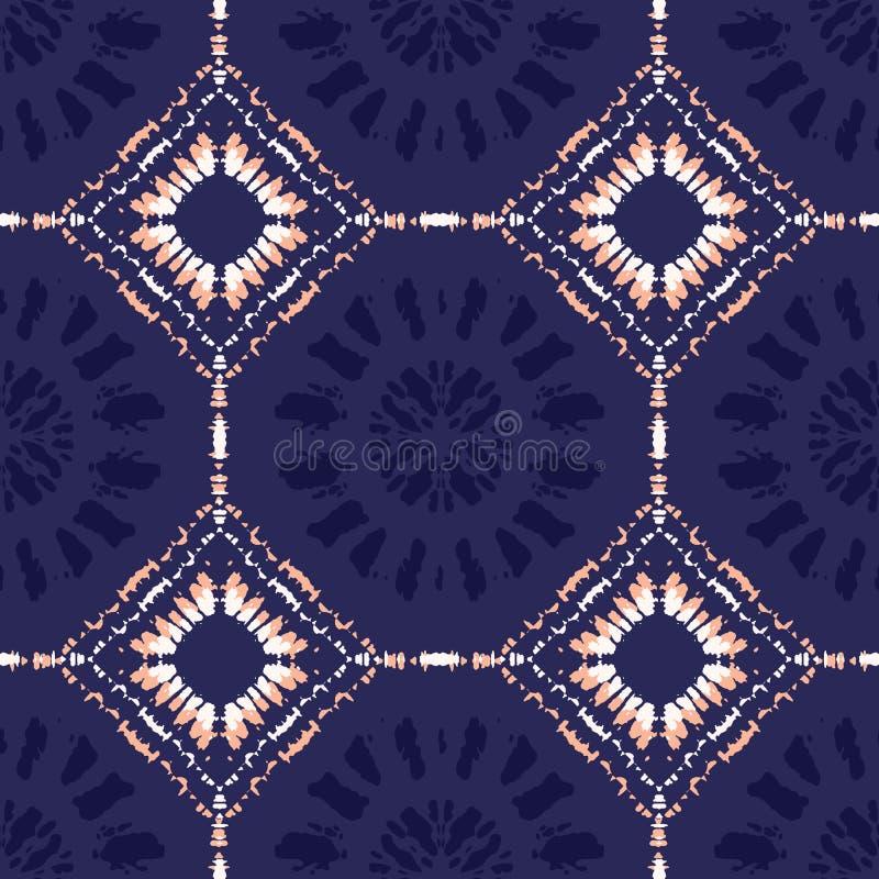 Elegancka Koralowa krawata barwidła lampasów i diamentów Shibori Odzwierciedlająca płytka na Indygowego tła Wektorowym Bezszwowym ilustracja wektor
