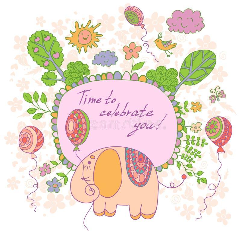 Elegancka kreskówki karta robić śliczni kwiaty, doodled słoń royalty ilustracja