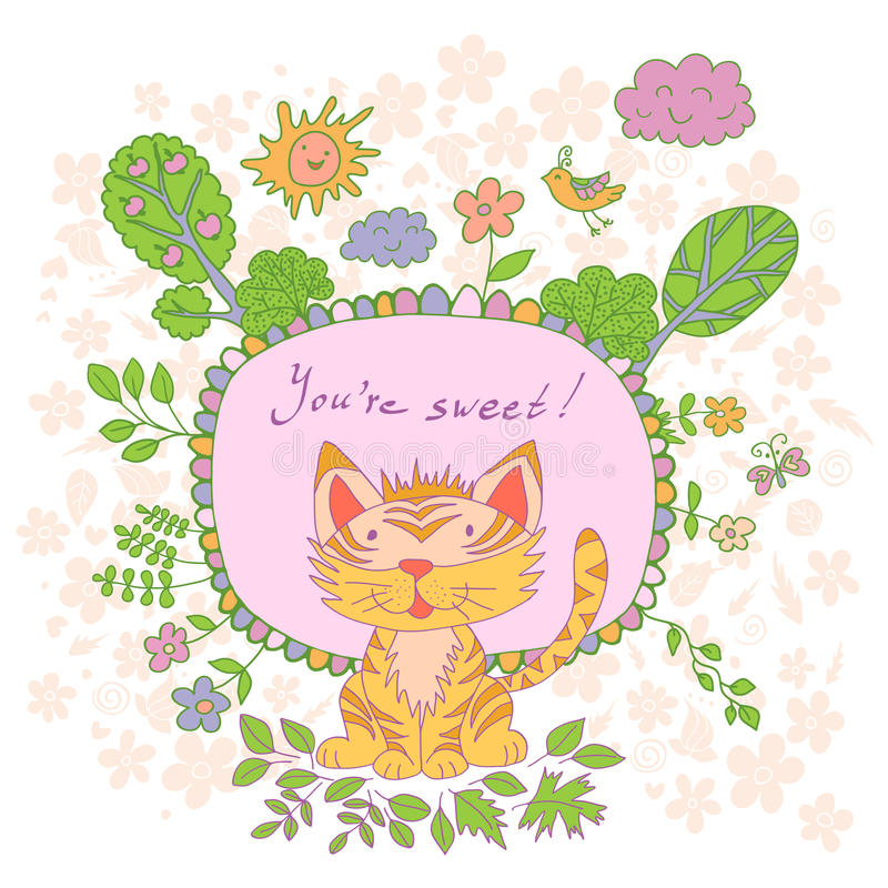 Elegancka kreskówki karta robić śliczni kwiaty, doodled tygrys ilustracja wektor