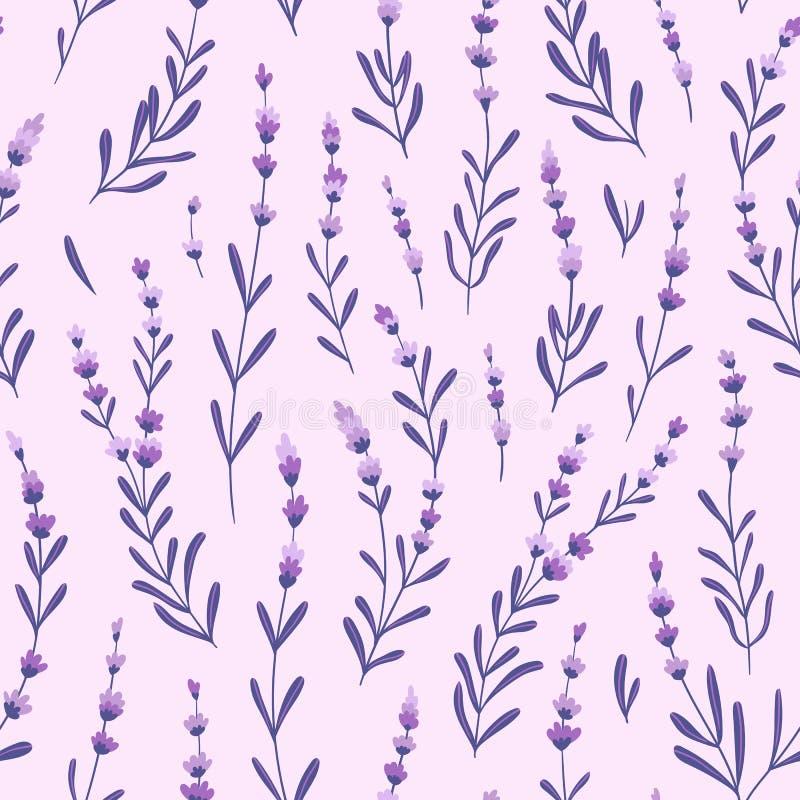 Elegancka lawenda pączkuje na purpurowym tle kwiaty deseniują bezszwowego wektor Lawendowy tkanina projekt ilustracji