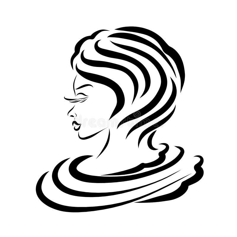 Elegancka młoda dama z krótkim włosy, urok ilustracja wektor