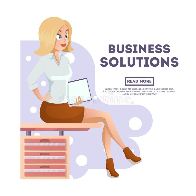 Elegancka młoda piękna sekretarka w eleganckim biurze odziewa Ślicznej kreskówki biznesowa kobieta z dokumentami wektor ilustracji