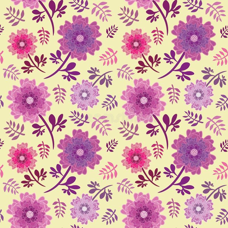 Elegancka menchia, purpura i liść powtórki bezszwowy wektorowy wzór na miękkim żółtym tle kwitniemy ilustracja wektor