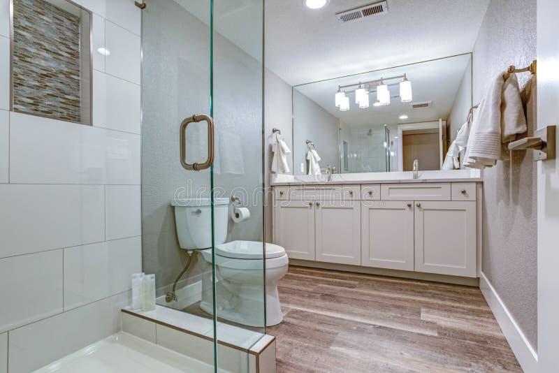 Elegancka mistrzowska łazienka z dwoistym bezcelowość gabinetem fotografia royalty free