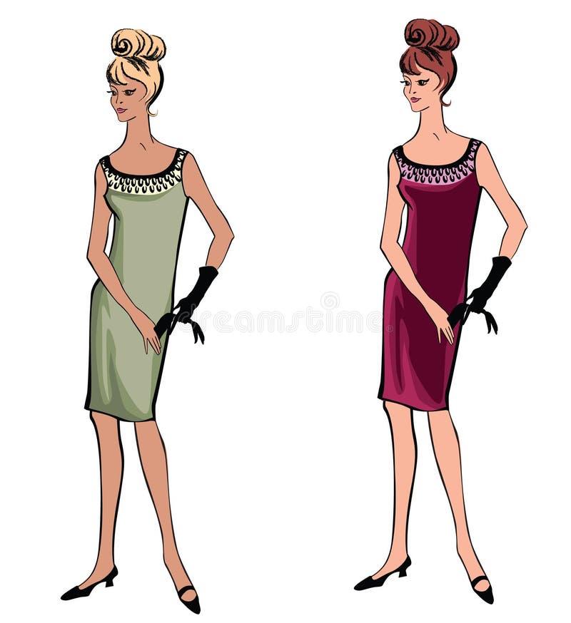 Elegancka moda ubierająca dziewczyna (1950s 1960s styl ilustracji