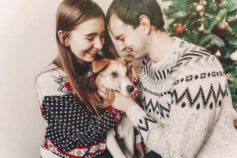 Elegancka modniś para ściska z psim i uśmiechniętym w pulowerach zdjęcie stock