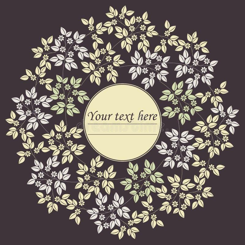 Elegancka okrąg rama z liśćmi i kwiatami royalty ilustracja