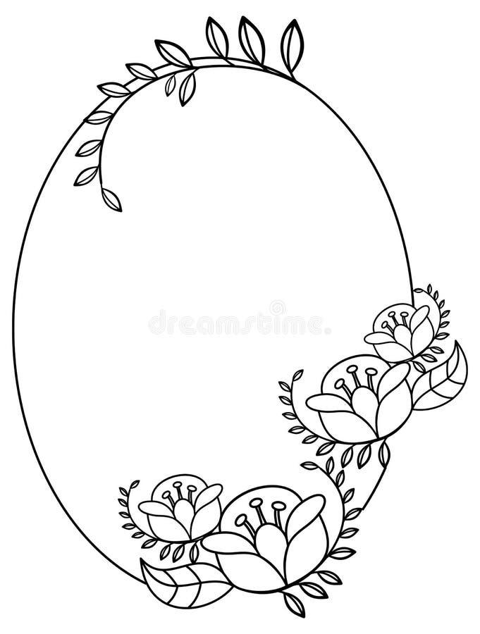 Elegancka owal rama z konturami kwiaty Raster klamerki sztuka royalty ilustracja