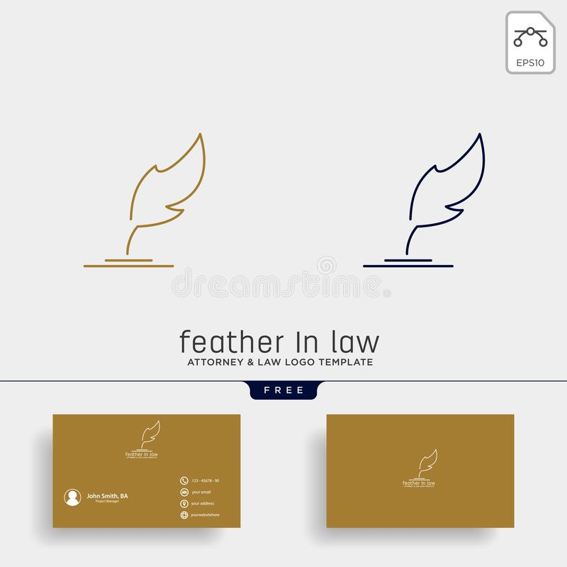 elegancka piórkowa adwokata logo linii projekta szablonu ilustracja royalty ilustracja